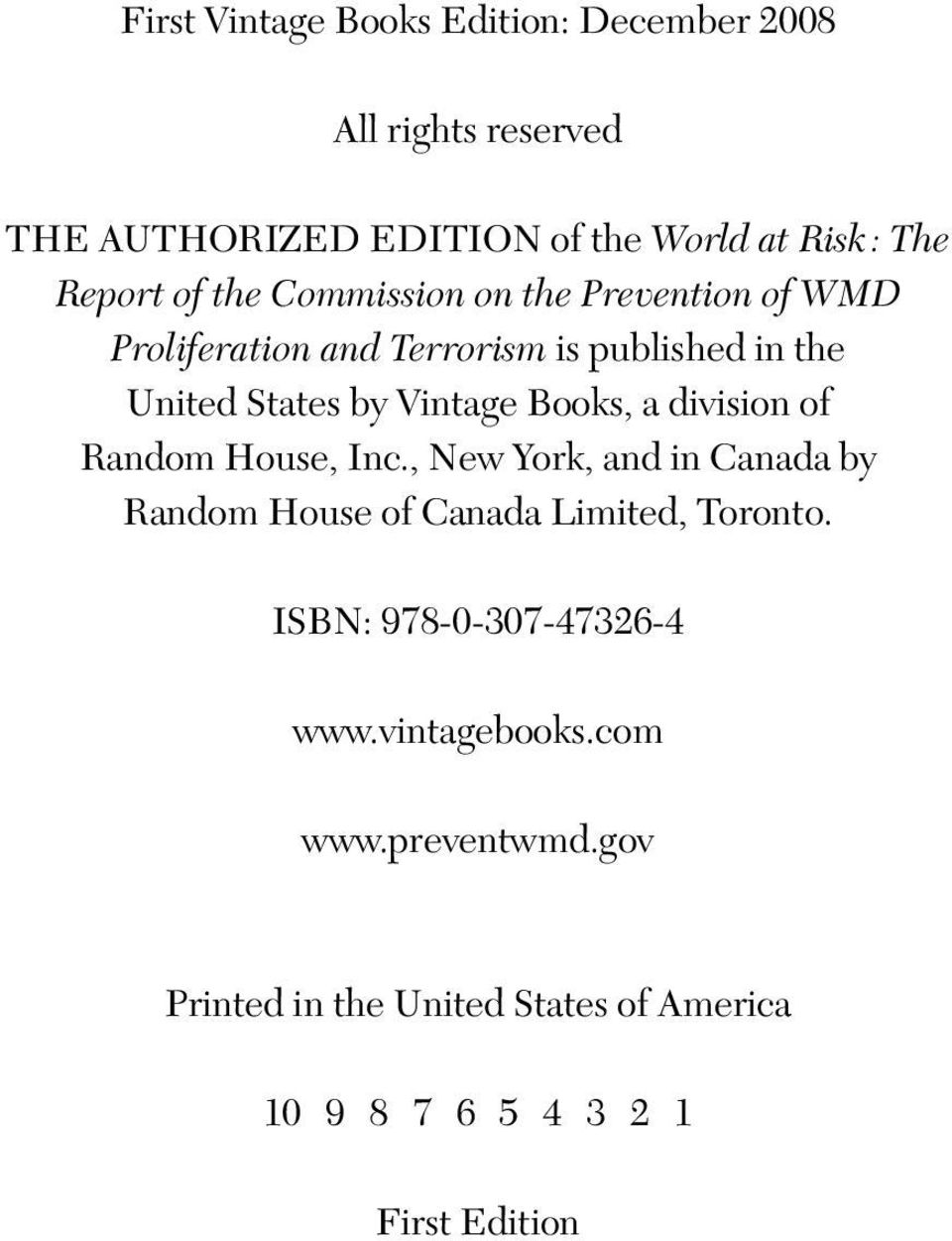 Books, a division of Random House, Inc., New York, and in Canada by Random House of Canada Limited, Toronto.