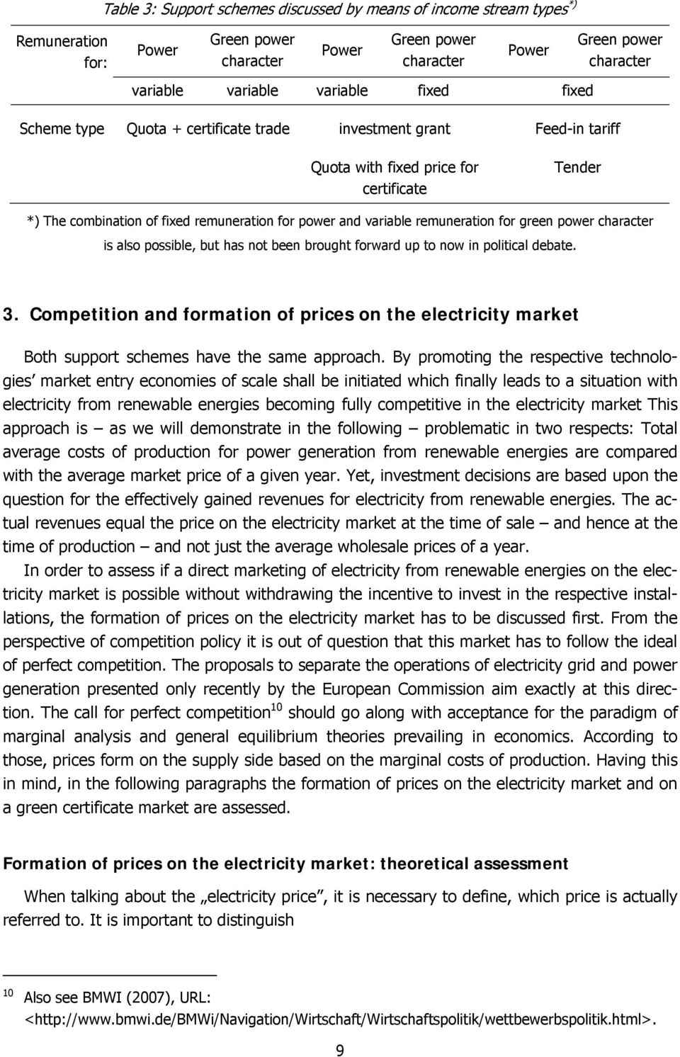 remuneration for green power character is also possible, but has not been brought forward up to now in political debate. 3.