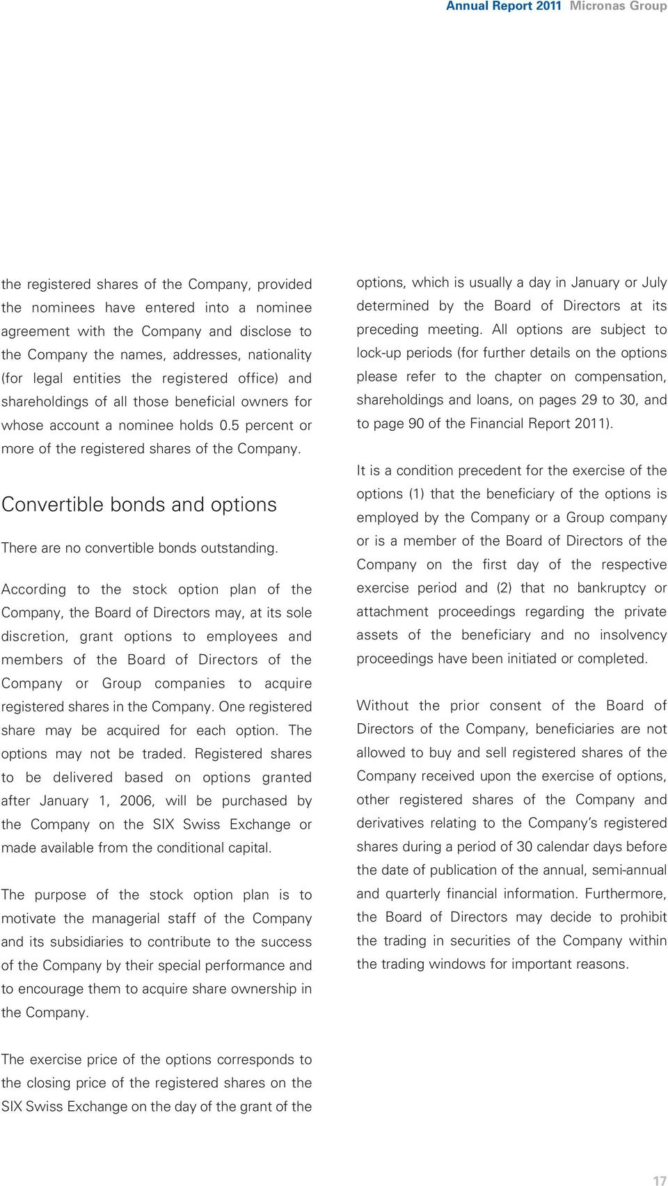 Convertible bonds and options There are no convertible bonds outstanding.