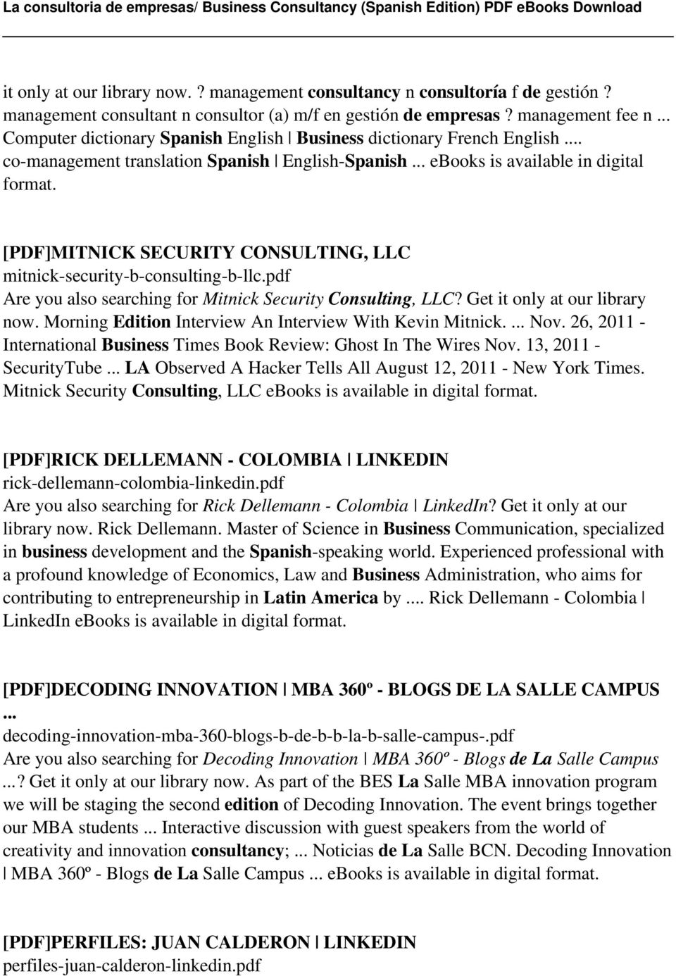La Consultoria De Empresas Business Consultancy Spanish Edition Wire Christmas Lights Wiring Review Ebooks Pdfmitnick Security Consulting Llc Mitnick B