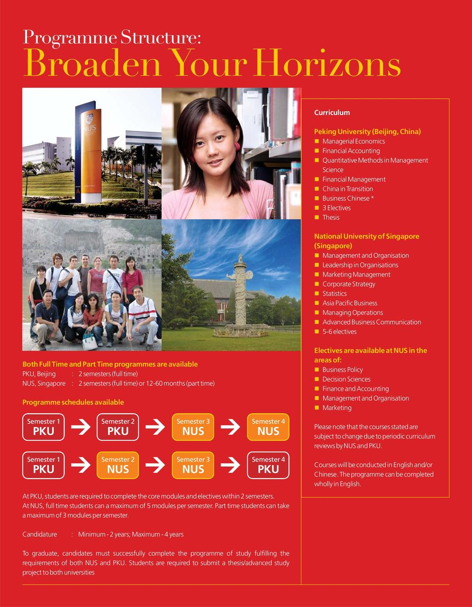 Statistics Asia Pacific Business Managing Operations Advanced Business Communication 5-6 electives Both Full Time and Part Time programmes are available PKU, Beijing : 2 semesters (full time) NUS,
