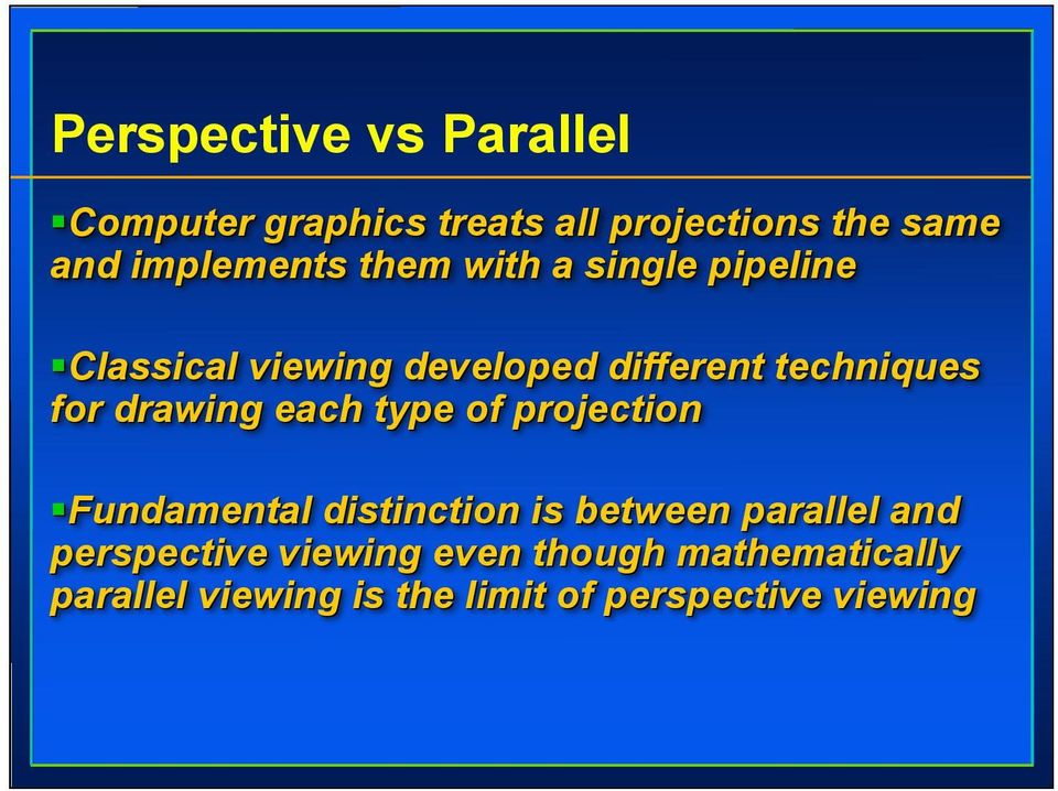 for drawing each type of projection Fundamental distinction is between parallel and