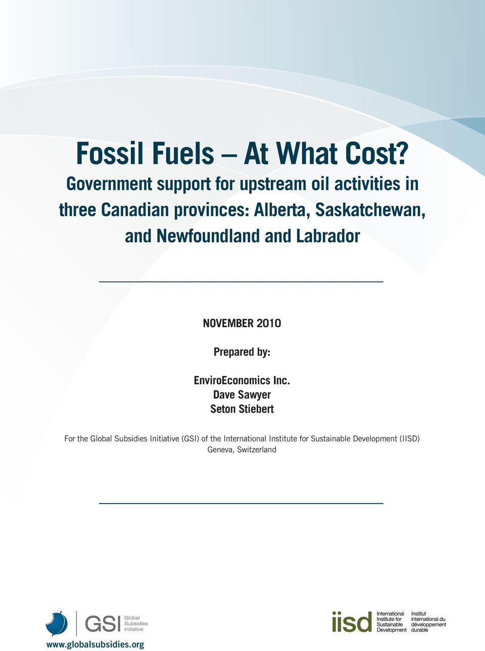 Saskatchewan, and Newfoundland and Labrador NOVEMBER 2010 Prepared by: EnviroEconomics