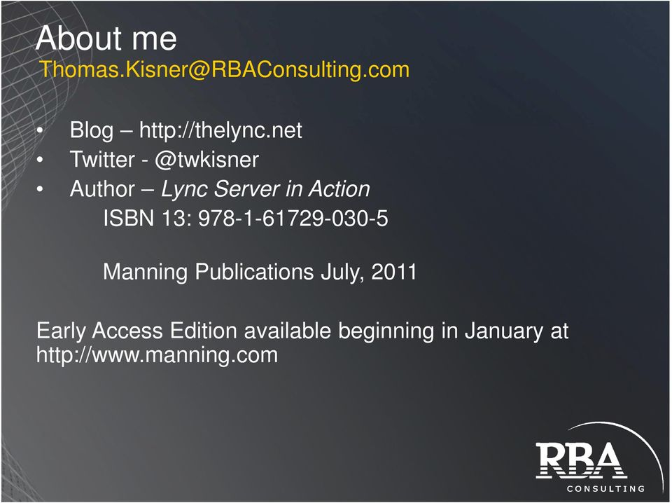 978-1-61729-030-5 Manning Publications July, 2011 Early Access