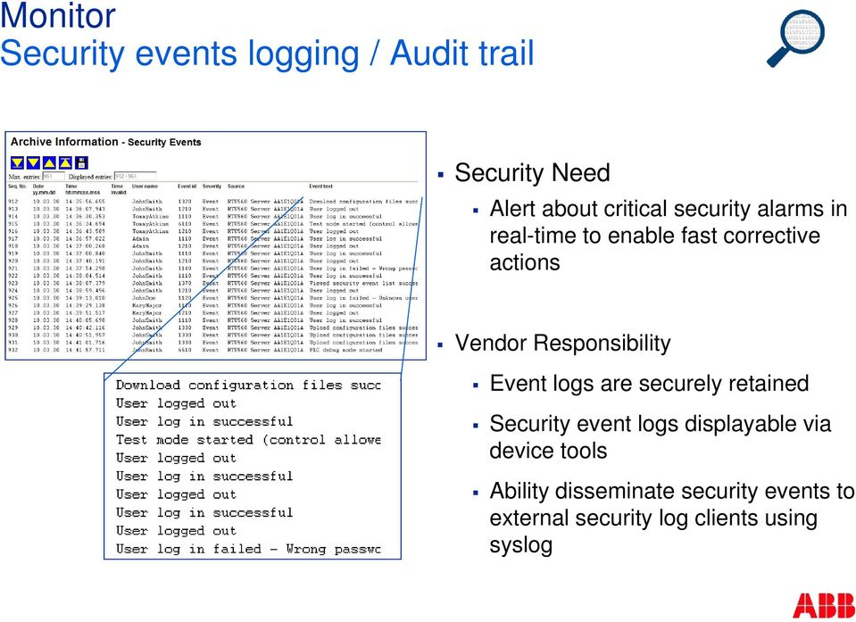 Responsibility Event logs are securely retained Security event logs displayable