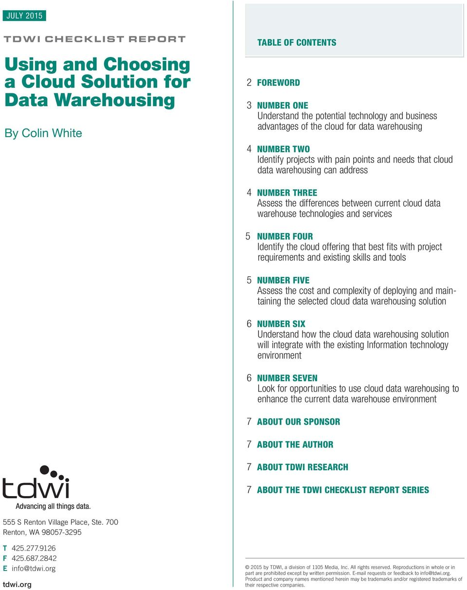 cloud data warehouse technologies and services 5 NUMBER FOUR Identify the cloud offering that best fits with project requirements and existing skills and tools 5 NUMBER FIVE Assess the cost and