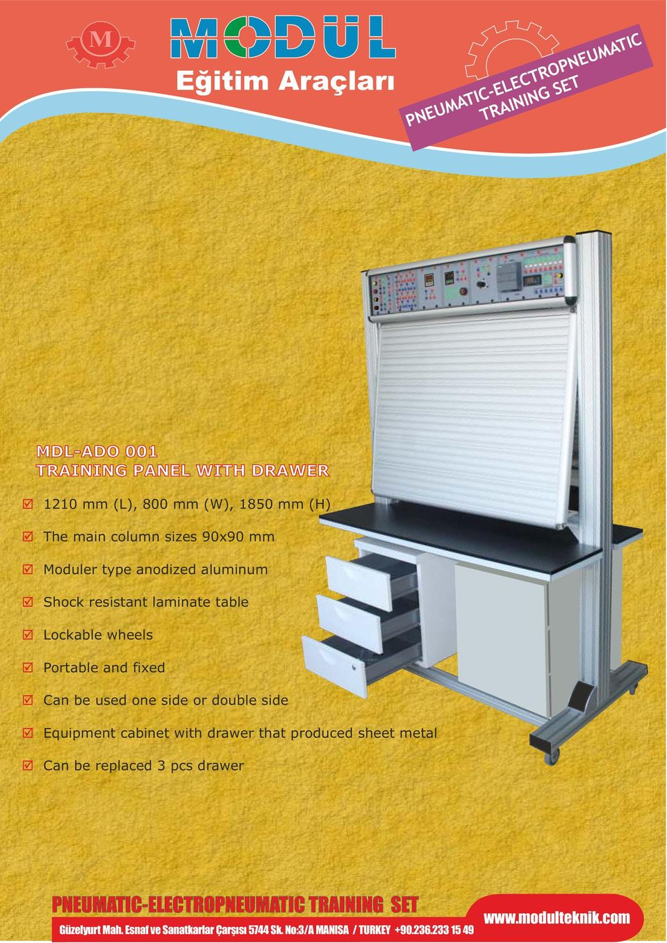 Can be used one side or double side Equipment cabinet with drawer that produced sheet metal Can be replaced pcs