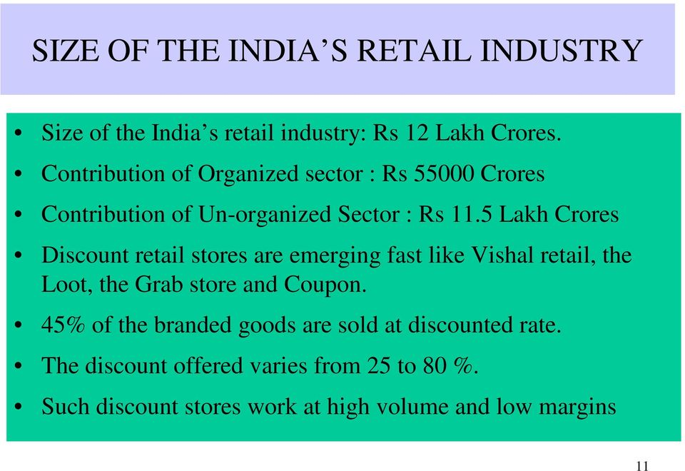5 Lakh Crores Discount retail stores are emerging fast like Vishal retail, the Loot, the Grab store and Coupon.