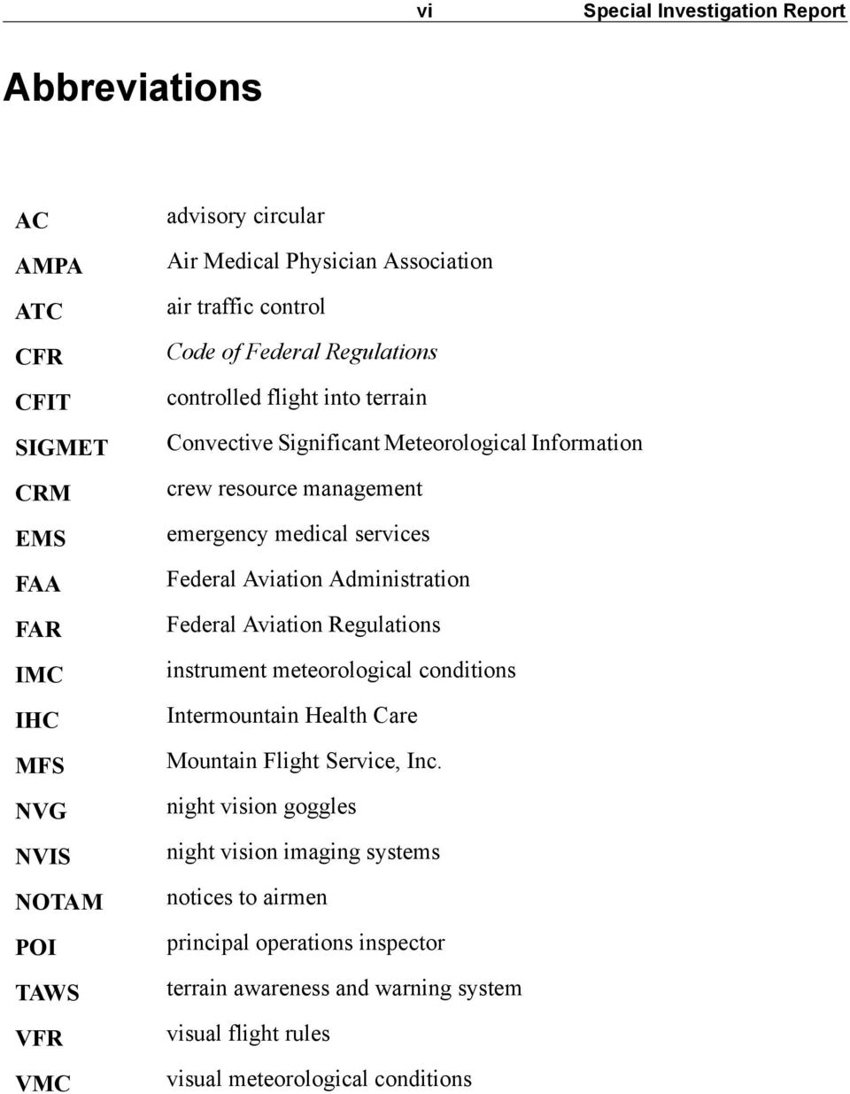 medical services Federal Aviation Administration Federal Aviation Regulations instrument meteorological conditions Intermountain Health Care Mountain Flight Service, Inc.