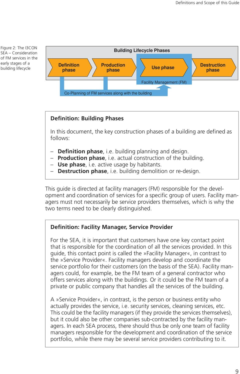 as follows: Definition phase, i.e. building planning and design. Production phase, i.e. actual construction of the building. Use phase, i.e. active usage by habitants. Destruction phase, i.e. building demolition or re-design.