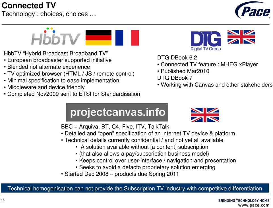 2 Connected TV feature : MHEG xplayer Published Mar2010 DTG DBook 7 Working with Canvas and other stakeholders BBC + Arquiva, BT, C4, Five, ITV, TalkTalk Detailed and open specification of an