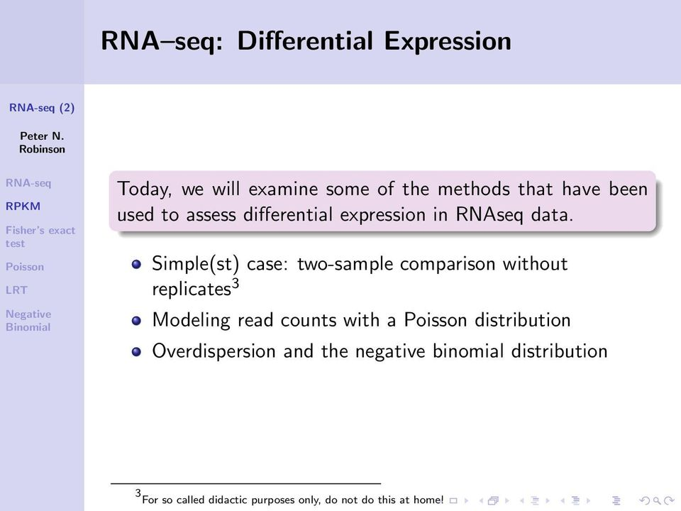 Simple(st) case: two-sample comparison without replicates 3 Modeling read counts with a