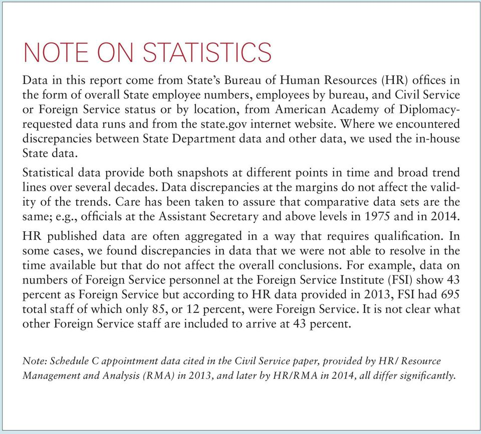 Where we encountered discrepancies between State Department data and other data, we used the in-house State data.