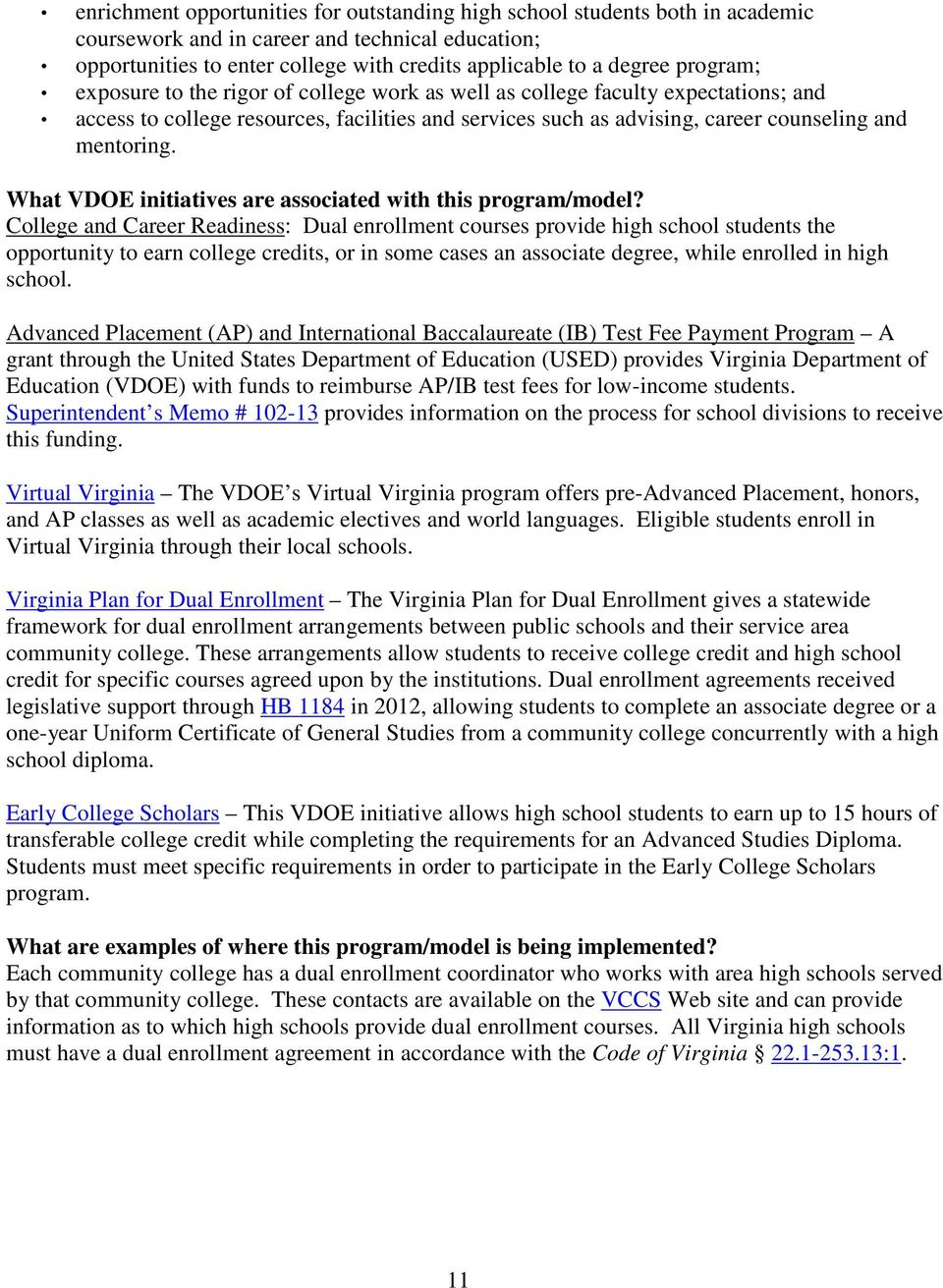 What VDOE initiatives are associated with this program/model?