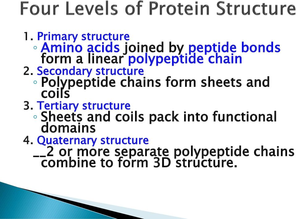 Secondary structure Polypeptide chains form sheets and coils 3.