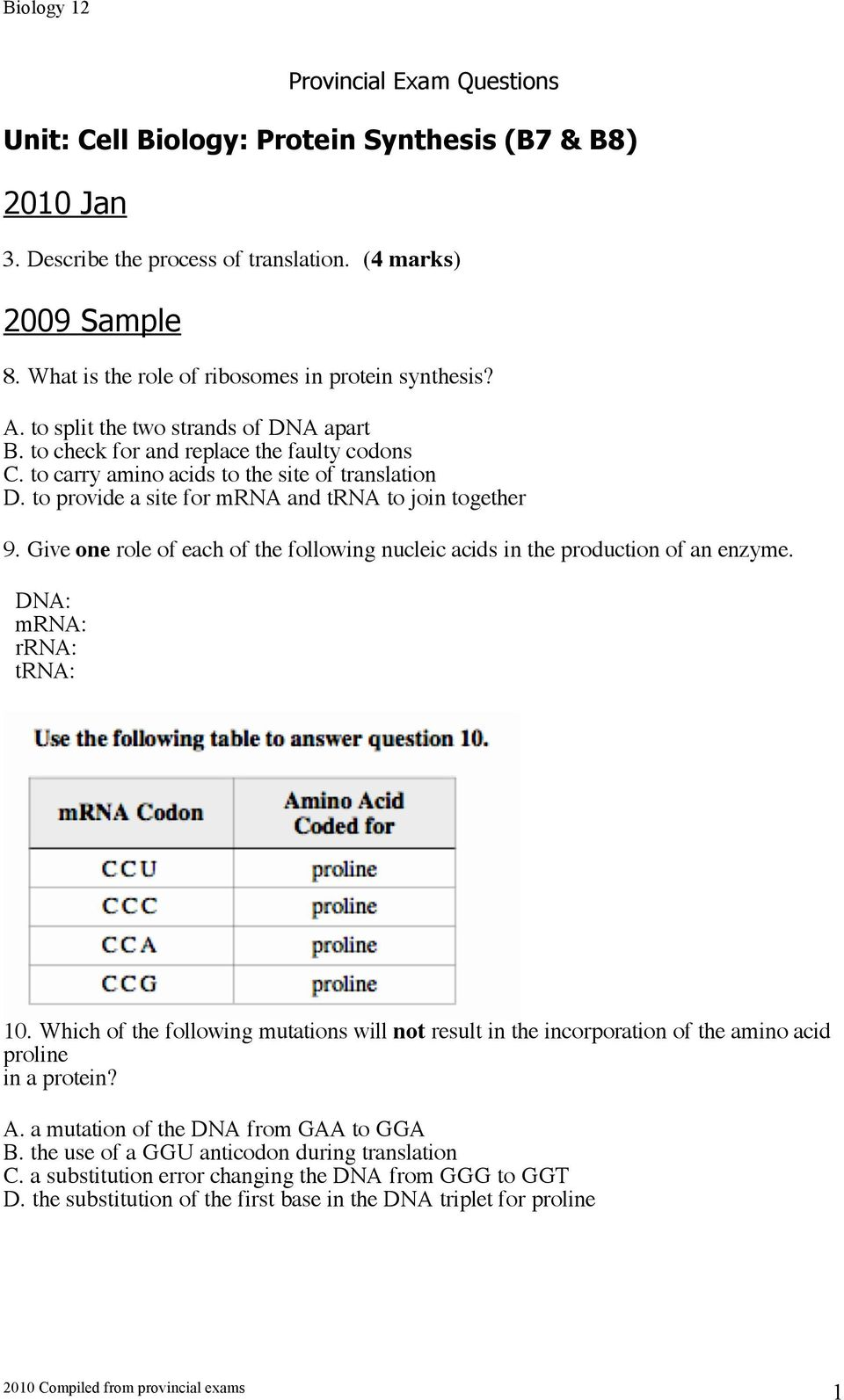 Give one role of each of the following nucleic acids in the production of an enzyme. DNA: mrna: rrna: trna: 10.