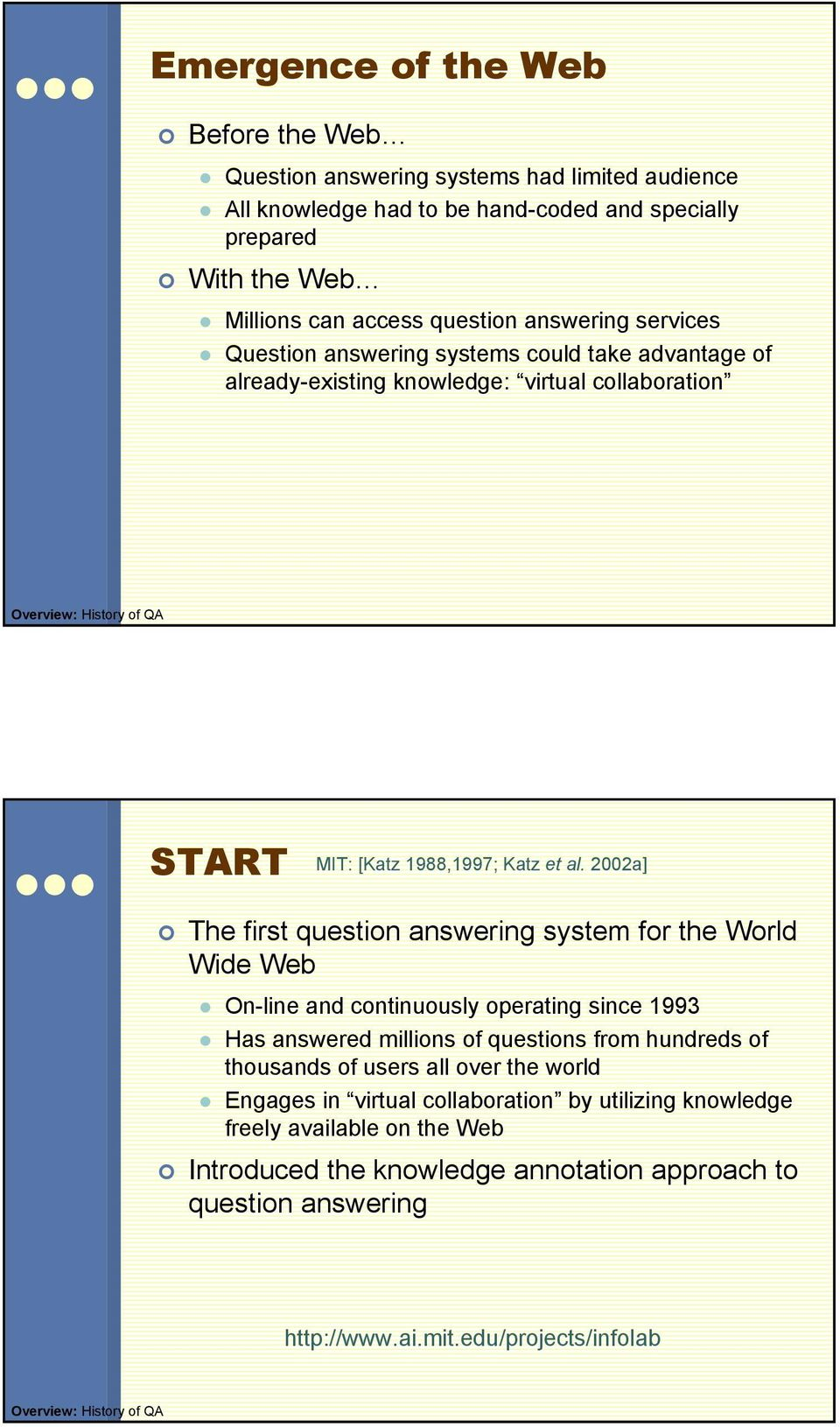 2002a] The first question answering system for the World Wide Web On-line and continuously operating since 1993 Has answered millions of questions from hundreds of thousands of users all over the