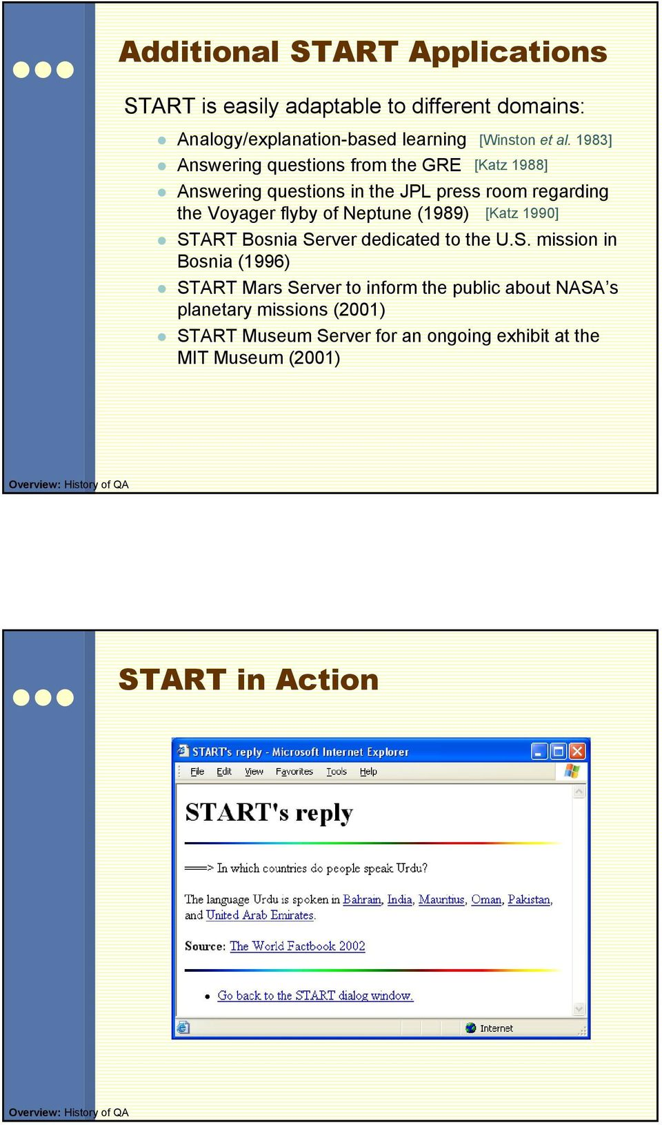 1983] [Katz 1988] Answering questions in the JPL press room regarding the Voyager flyby of Neptune (1989) [Katz 1990] START Bosnia Server