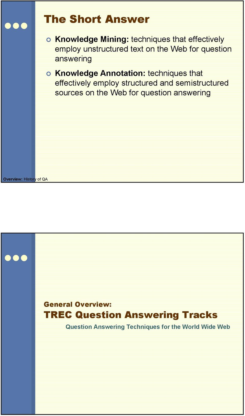 structured and semistructured sources on the Web for question answering Overview: History of