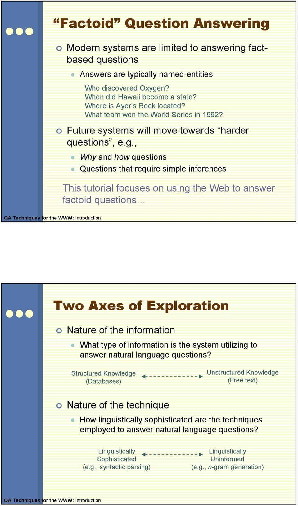 , Why and how questions Questions that require simple inferences This tutorial focuses on using the Web to answer factoid questions QA Techniques for the WWW: Introduction Two Axes of Exploration