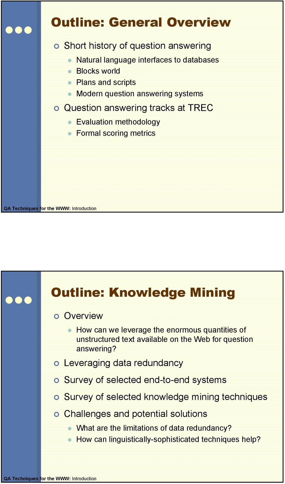 quantities of unstructured text available on the Web for question answering?