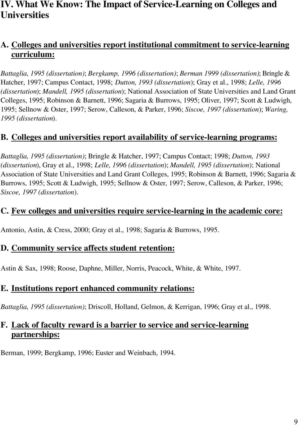 1997; Campus Contact, 1998; Dutton, 1993 (dissertation); Gray et al.
