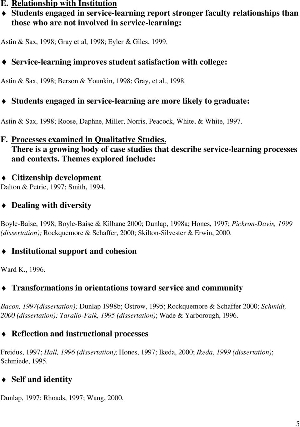 Berson & Younkin, 1998; Gray, et al., 1998. Students engaged in service-learning are more likely to graduate: Astin & Sax, 1998; Roose, Daphne, Miller, Norris, Peacock, White, & White, 1997. F.