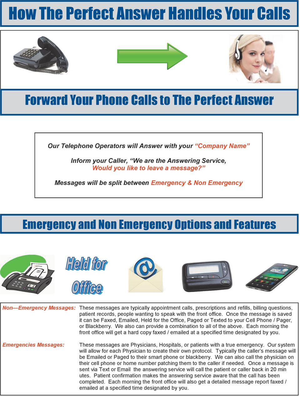 Messages will be split between Emergency & Non Emergency Emergency and Non Emergency Options and Features Non Emergency Messages: These messages are typically appointment calls, prescriptions and