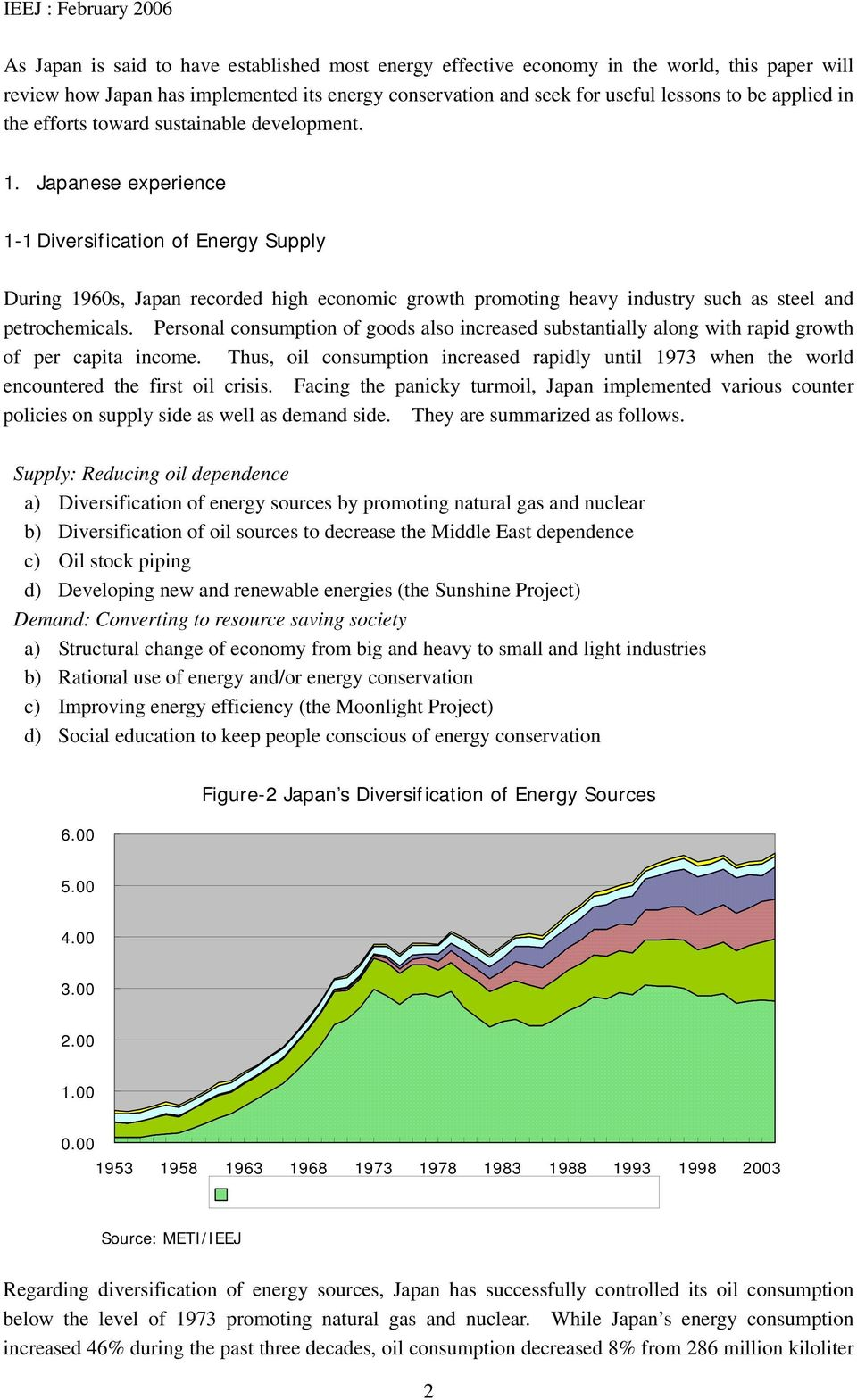 Japanese experience 1-1 Diversification of Energy Supply During 1960s, Japan recorded high economic growth promoting heavy industry such as steel and petrochemicals.