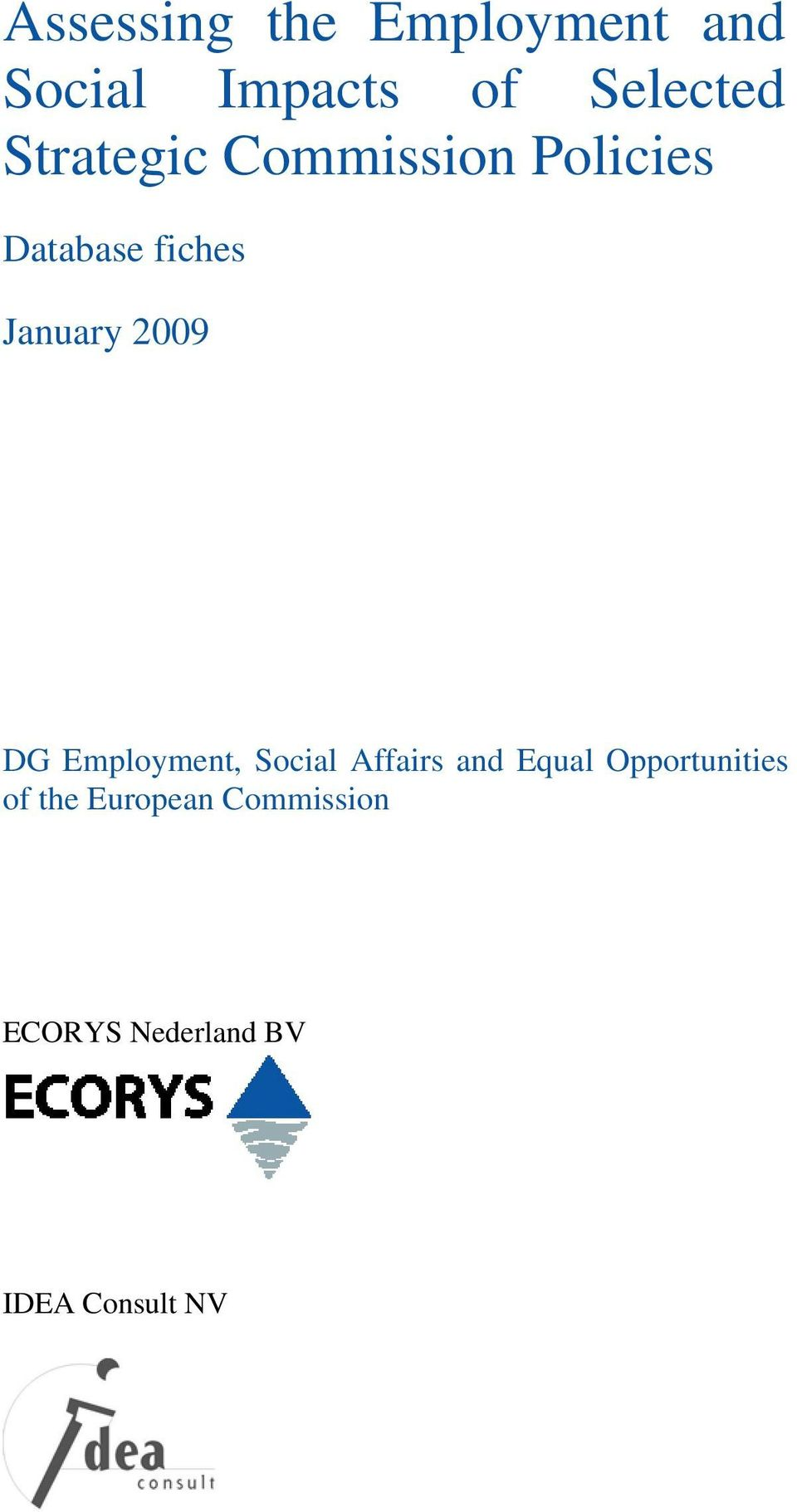 2009 DG Employment, Social Affairs and Equal