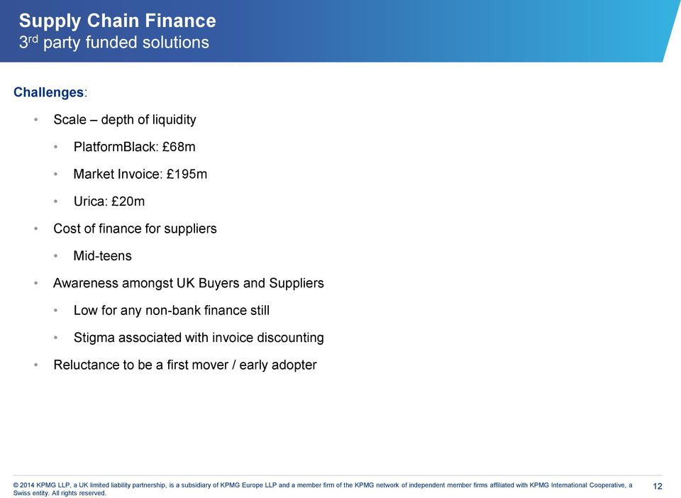 Awareness amongst UK Buyers and Suppliers Low for any non-bank finance still