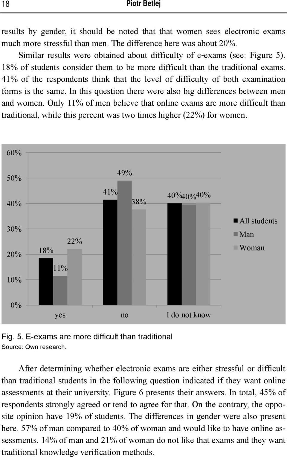 41% of the respondents think that the level of difficulty of both examination forms is the same. In this question there were also big differences between men and women.