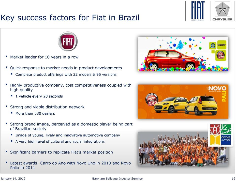 brand image, perceived as a domestic player being part of Brazilian society Image of young, lively and innovative automotive company A very high level of cultural and social