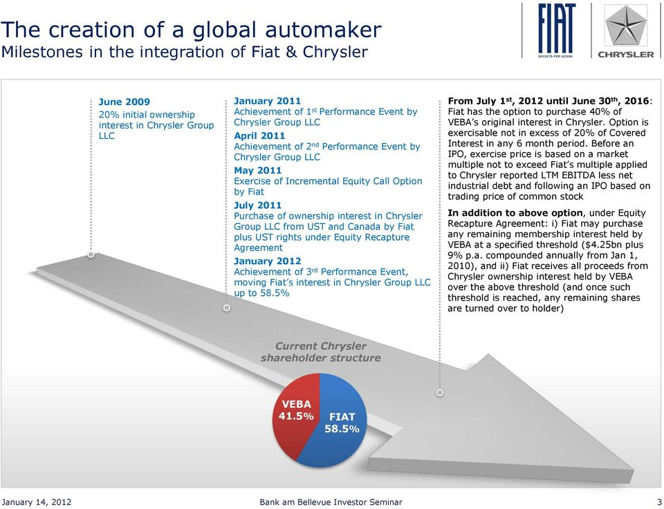 Chrysler Group LLC from UST and Canada by Fiat plus UST rights under Equity Recapture Agreement January 2012 Achievement of 3 rd Performance Event, moving Fiat s interest in Chrysler Group LLC up to