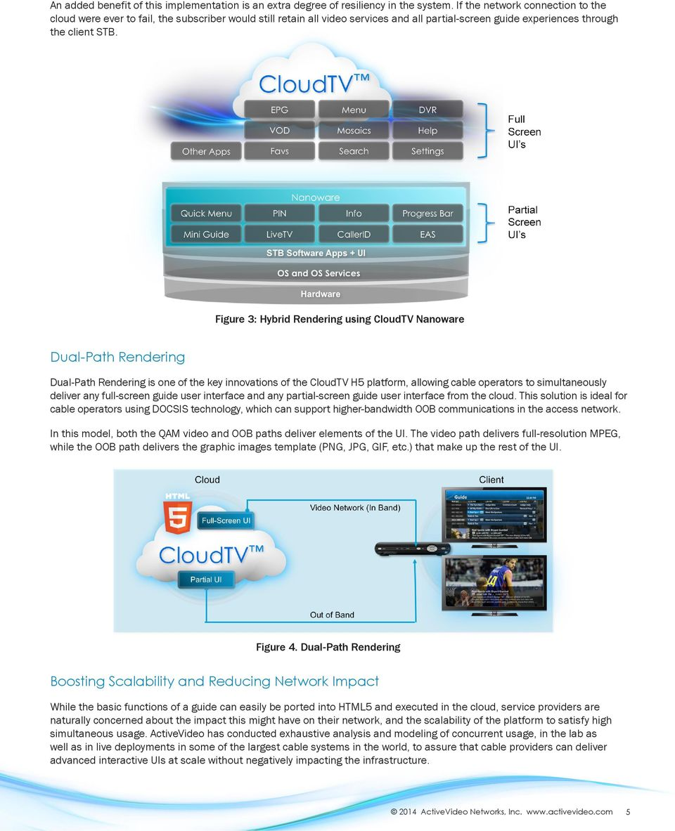 Figure 3: Hybrid Rendering using CloudTV Nanoware Dual-Path Rendering Dual-Path Rendering is one of the key innovations of the CloudTV H5 platform, allowing cable operators to simultaneously deliver