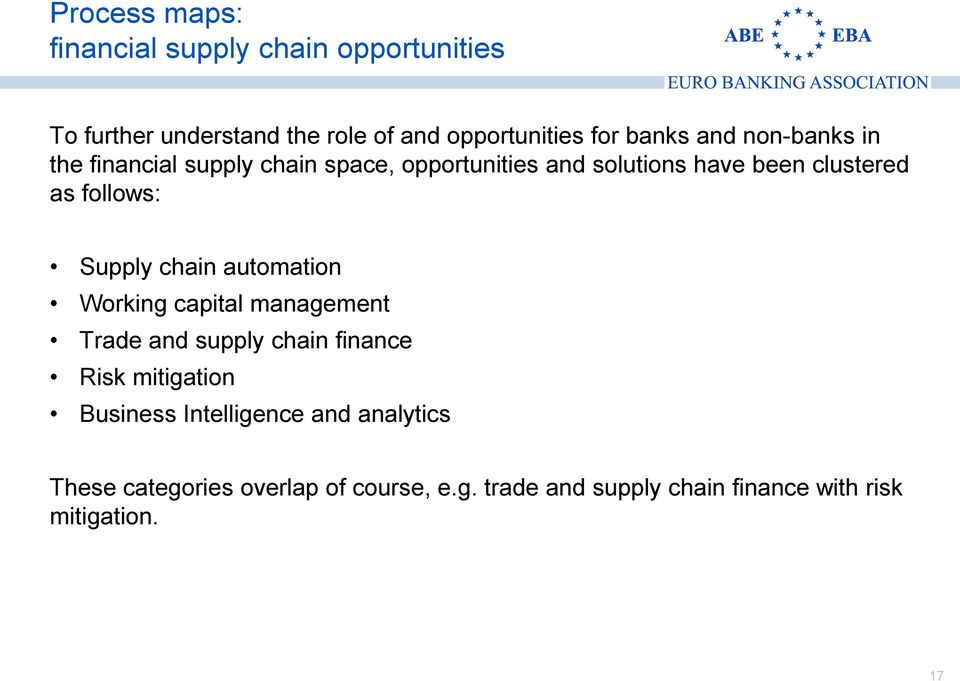 Supply chain automation Working capital management Trade and supply chain finance Risk mitigation Business