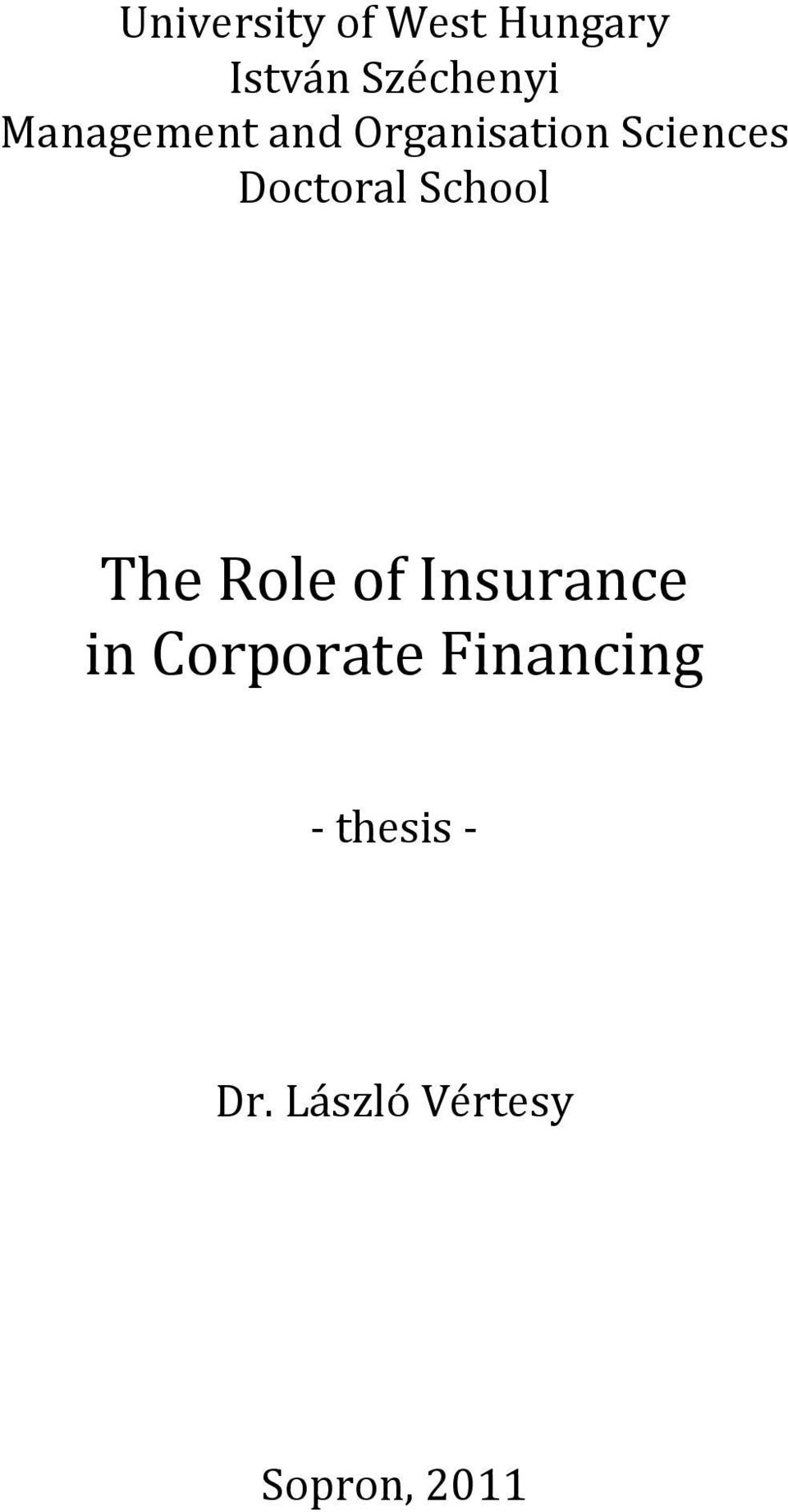 School The Role of Insurance in Corporate