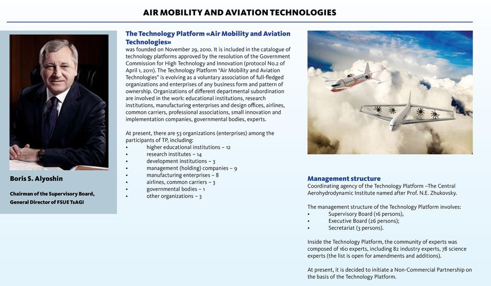 The Technology Platform Air Mobility and Aviation Technologies is evolving as a voluntary association of full-fledged organizations and enterprises of any business form and pattern of ownership.