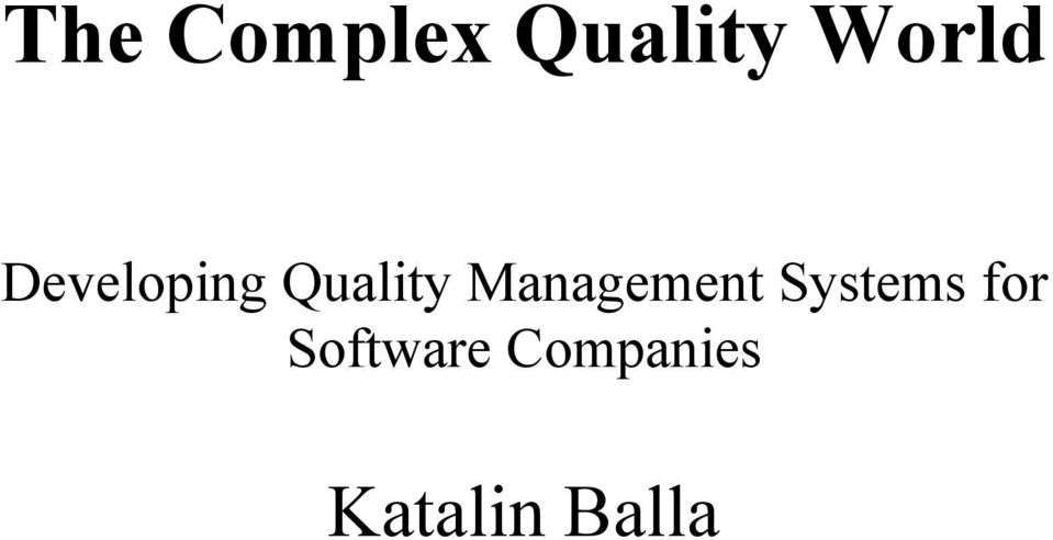 Management Systems for