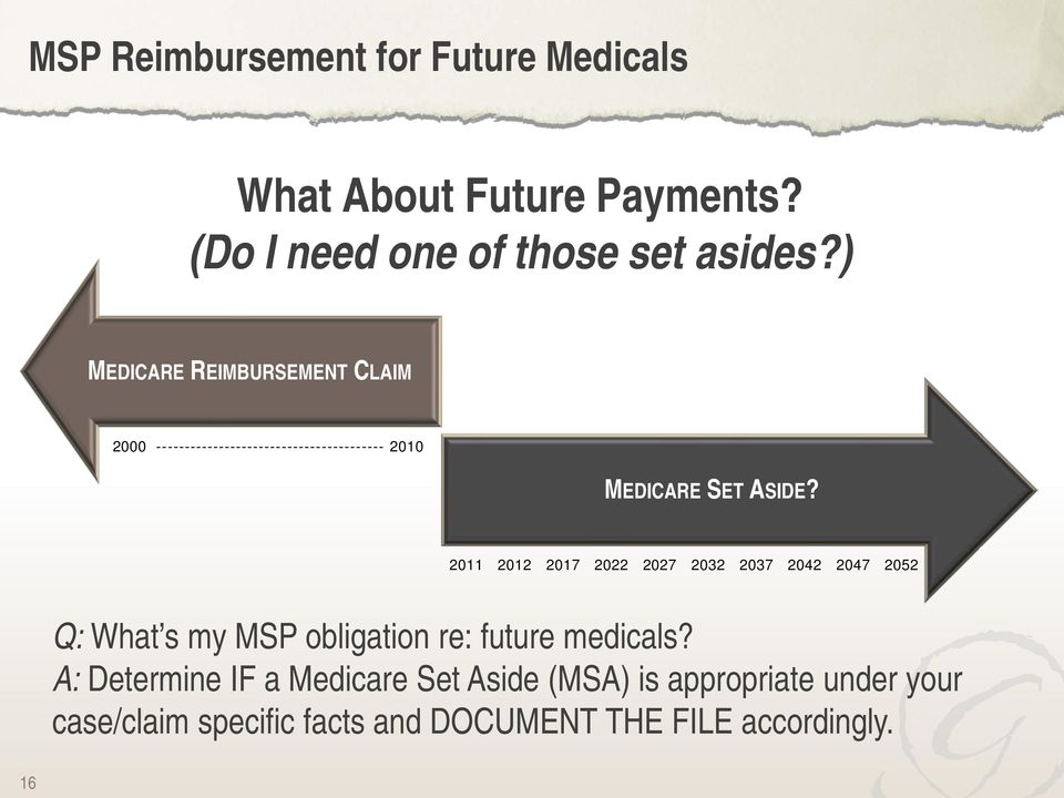 2011 2012 2017 2022 2027 2032 2037 2042 2047 2052 Q: What s my MSP obligation re: future medicals?