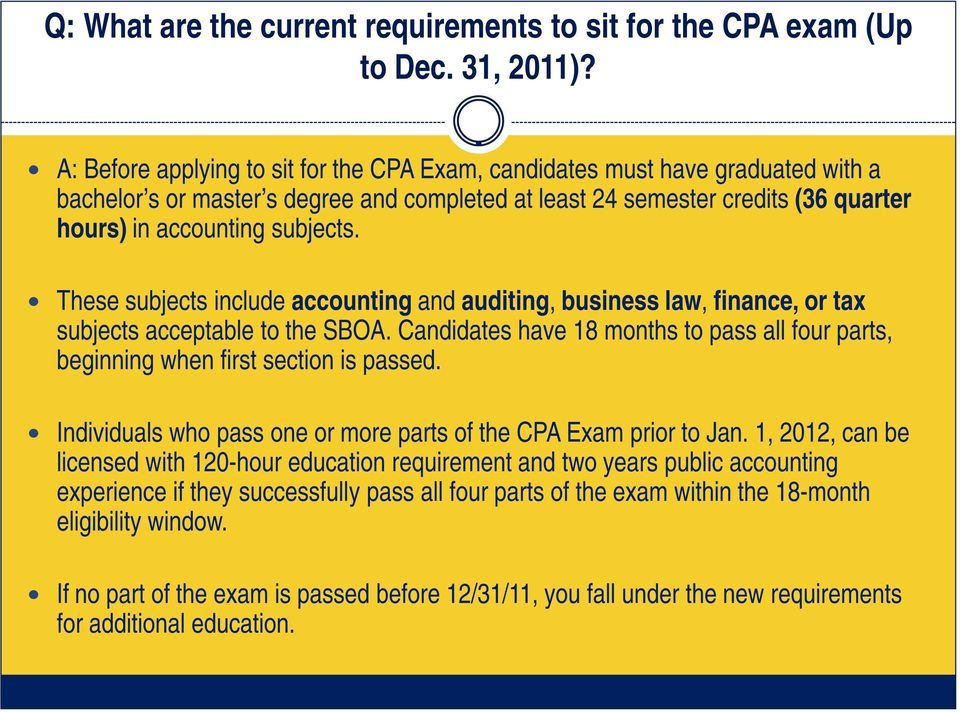 These subjects include accounting and auditing, business law, finance, or tax subjects acceptable to the SBOA. Candidates have 18 months to pass all four parts, beginning when first section is passed.