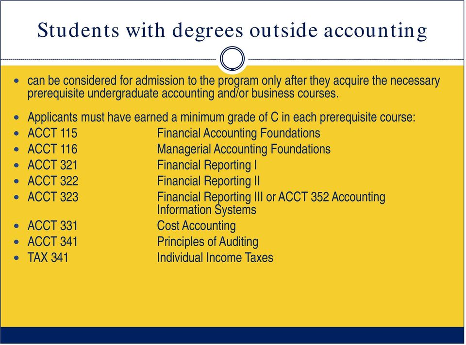 Applicants must have earned a minimum grade of C in each prerequisite course: ACCT 115 Financial Accounting Foundations ACCT 116 Managerial