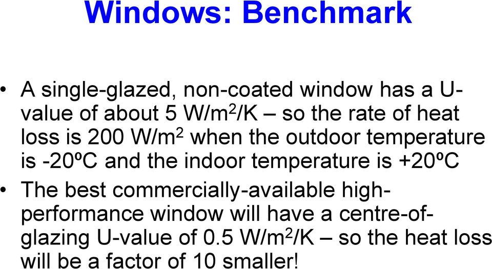 indoor temperature is +20ºC The best commercially-available highperformance window will