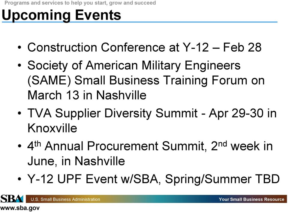 Nashville TVA Supplier Diversity Summit - Apr 29-30 in Knoxville 4 th Annual