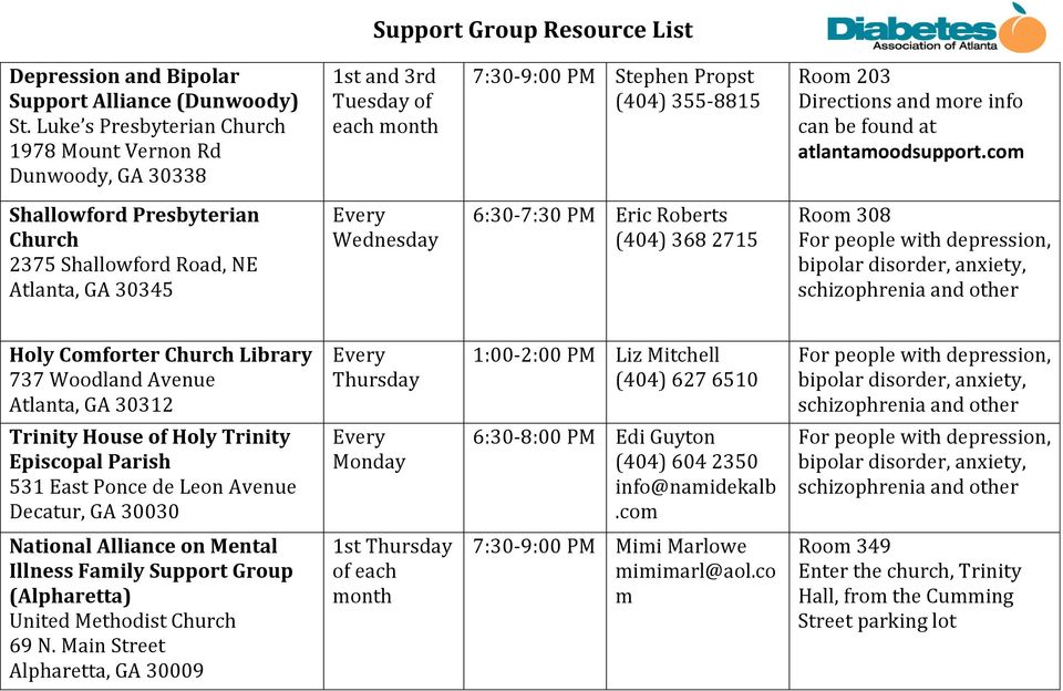 30345 Every Wednesday 6:30-7:30 PM Eric Roberts (404) 368 2715 Room 308 For people with depression, bipolar disorder, anxiety, schizophrenia and other Holy Comforter Church Library 737 Woodland