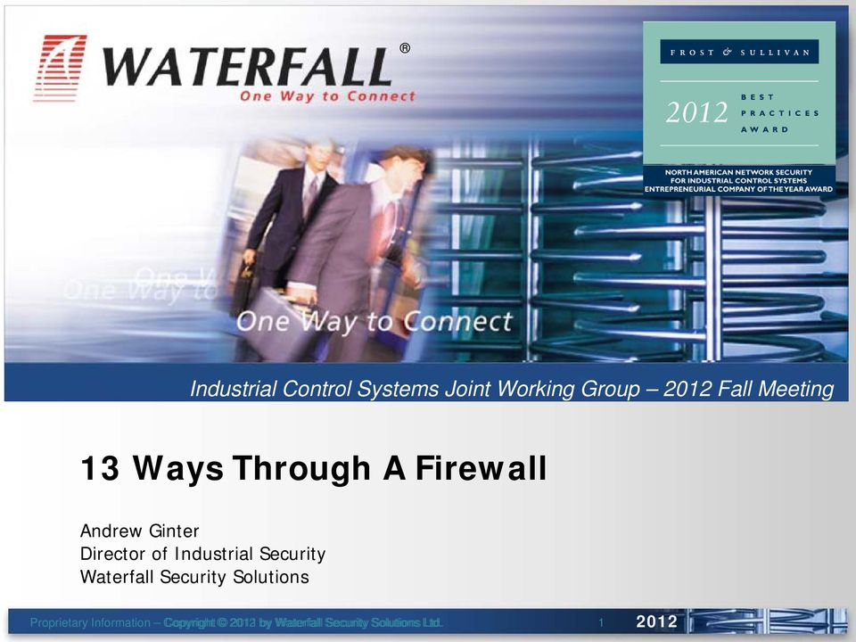 Security Waterfall Security Solutions Proprietary Information --