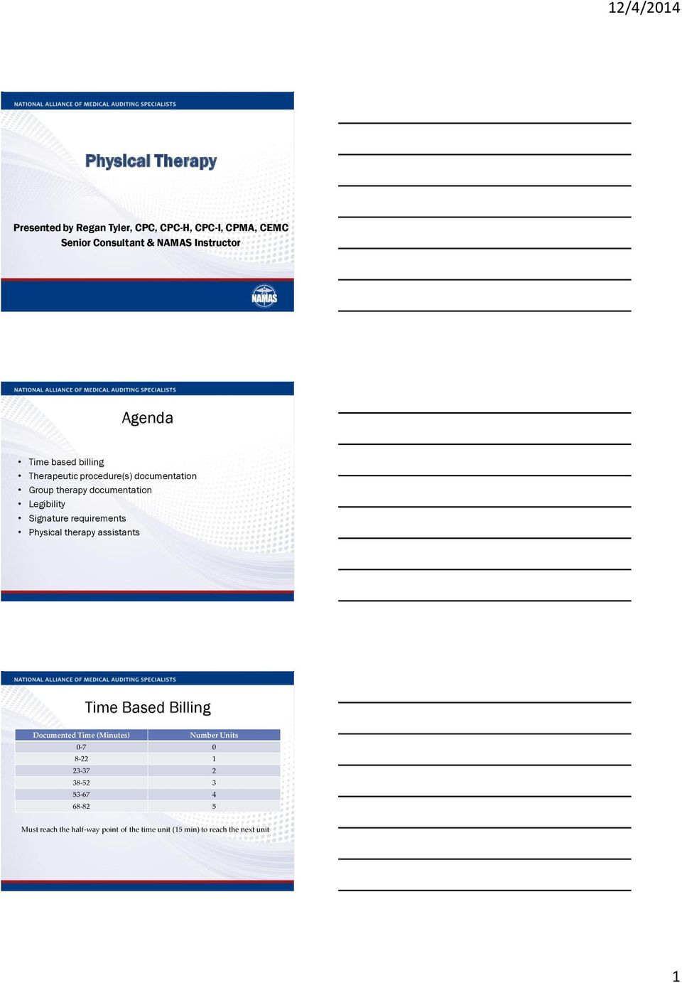 Signature requirements Physical therapy assistants Time Based Billing Documented Time (Minutes) Number Units