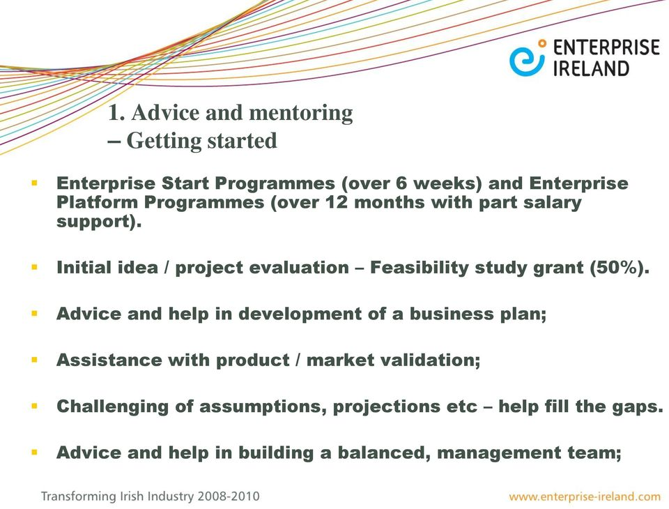 Establishing A High Potential Startup Business Presentation To  Initial Idea  Project Evaluation Feasibility Study Grant