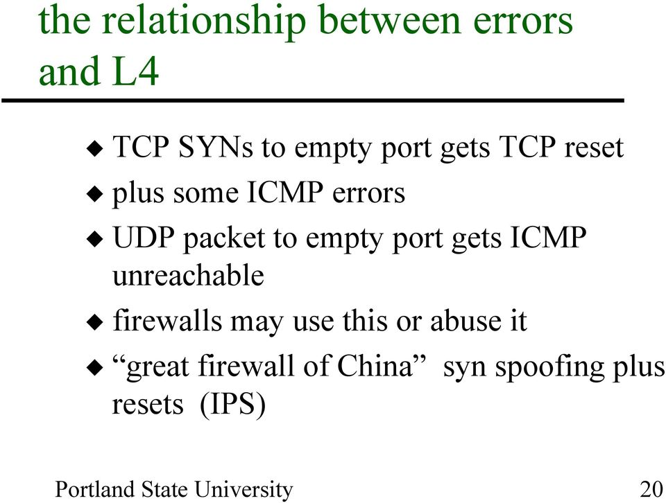 empty port gets ICMP unreachable firewalls may use this or