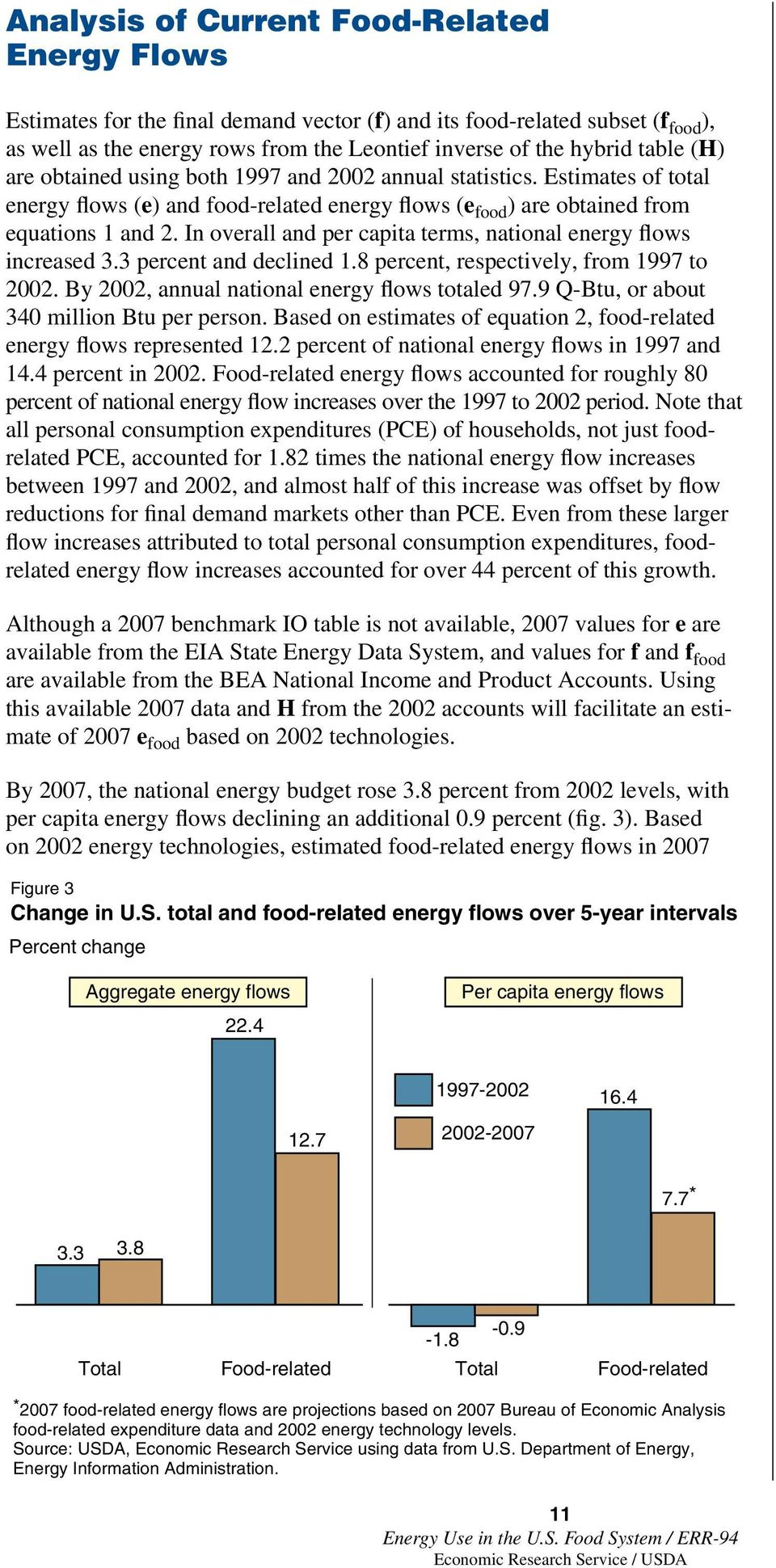 In overall and per capita terms, national energy flows increased 3.3 percent and declined 1.8 percent, respectively, from 1997 to 2002. By 2002, annual national energy flows totaled 97.
